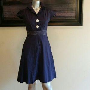 Ruby Rox Vintage Style Blue Sailor Pinup Dress Sz3